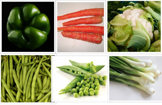 The Vegetables that go into the Pulao (clockwise from top left) - capsicum, carrot, cauliflower, spring onions, green peas and french beans