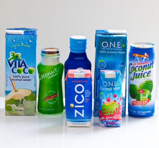 Some popular brands of coconut water.