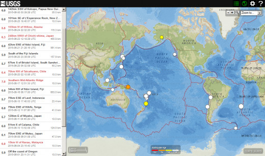 Worldwide seismic activity (5.7 magnitude or greater) for June 2015.