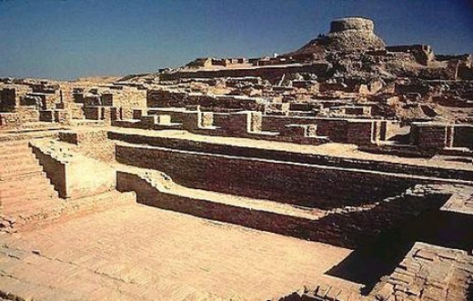 This shows the excavations of Mohenjo-daro.  The great bath is in the forefront of the photo.