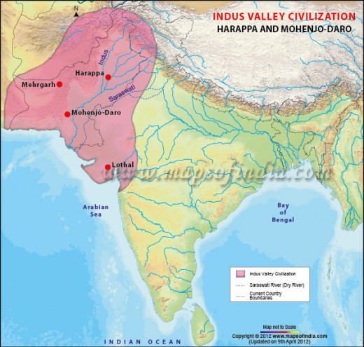 This map shows the location of the Harappan civilization in the Indus River Valley.