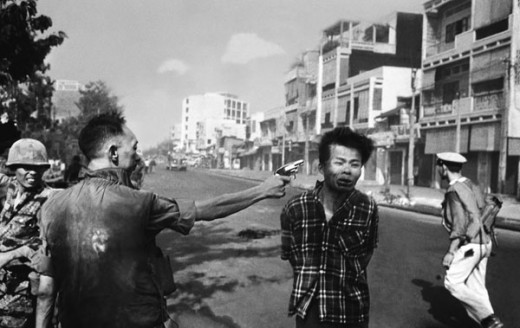 Eddie Adams' photo of the execution of  Nguyễn Văn Lém, a local Viet Cong officer who had been operating a gang of murderers bent on killing all the local police officers in that area of Saigon during the Vietnam War.