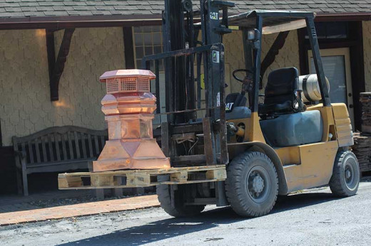 This shiny number (on a forklift) lights up a masonry yard.