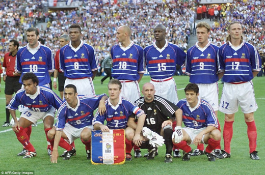France World Cup winning team of 1998 on home soil
