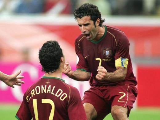 Figo and Cristiano Ronaldo