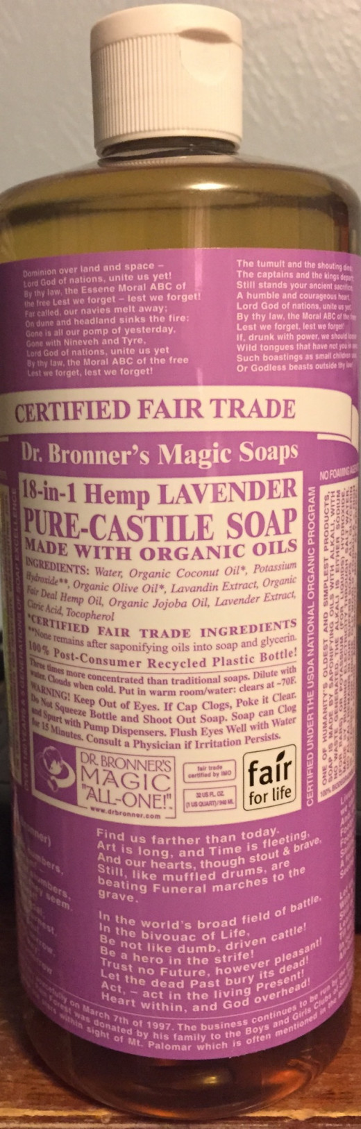 This is the lavender oil Dr. Bronner's but if you're experiencing a dry and itchy scalp then try the tea tree oil.