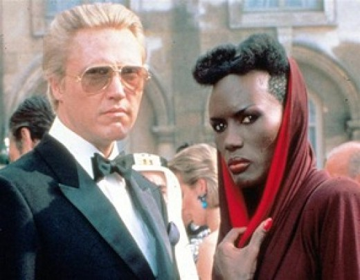 """Christopher Walken (left) and Grace Jones in """"A View To A Kill"""""""