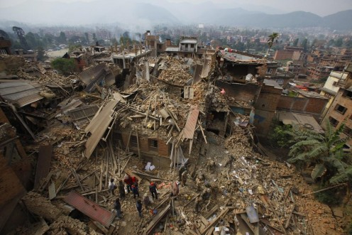 Devastation in Nepal caused by an earthquake in April 2015.