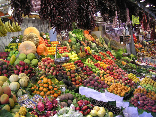 Picture of produce like fruits and vegetables.