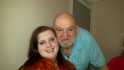 Alexis, my eldest granddaughter and me at our Thanksgiving dinner.