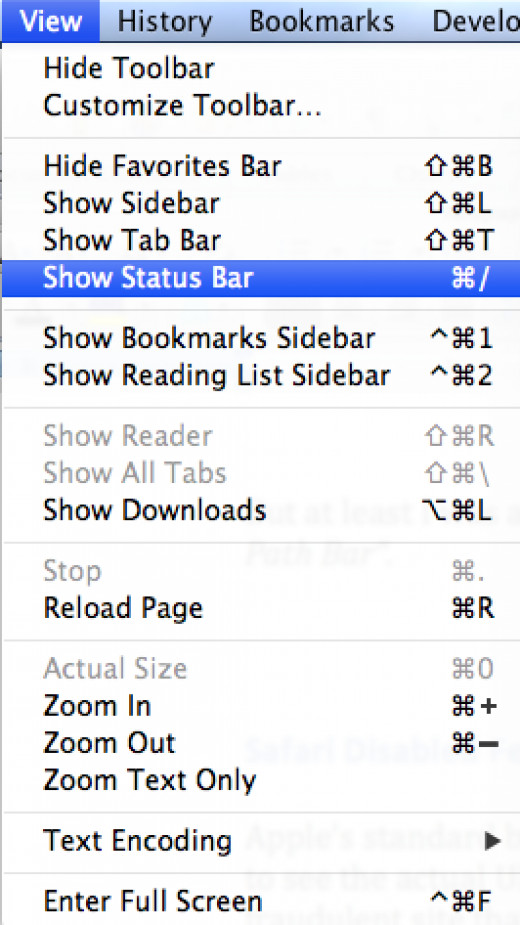 Show Status Bar with URL in Safari
