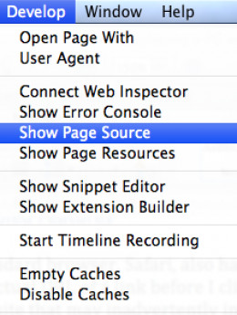 Show Page Source in Safari