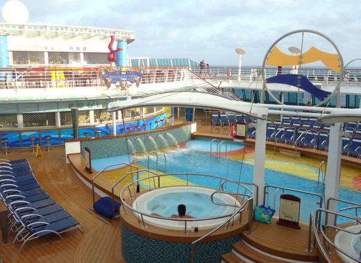 A partial view of one end of the Lido Deck on the Brillance of the Seas.  The lido deck is where you'll find the cruise ship's pool, among other things.