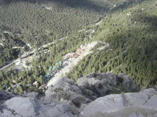 Mount Charleston Lodge viewed from atop Cathedral Rock.  Photo taken by the author on a 2009 hike.