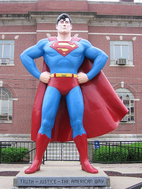 Superman statue.