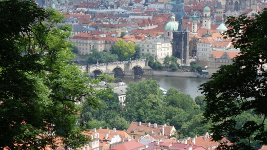 Image taken from Petrin Hill - View of Prague with Charles Bridge