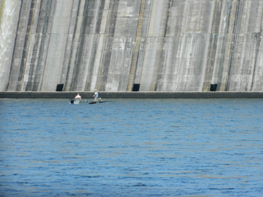 Fishing for trout below the dam