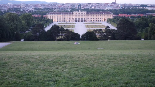Dusk View of Schonbrunn Palace and the City of Vienna From the Gloriette on the Hill