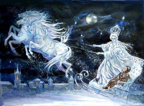 The evil Snow Queen runs off with Kai, Gerda's childhood sweetheart.