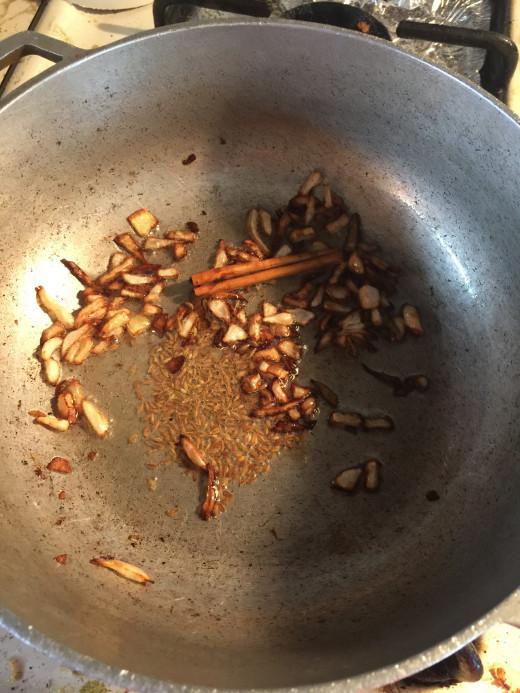 Making tadka/ tarika for rice.