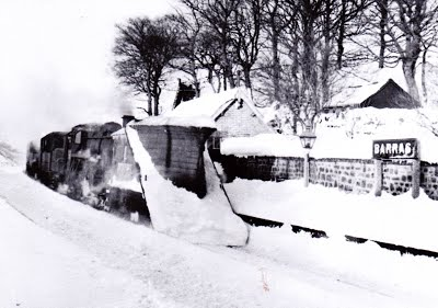 Winter scene at Barras... Hours after the accident. The station site is now under the A66, Scotch Corner to Whitehaven road