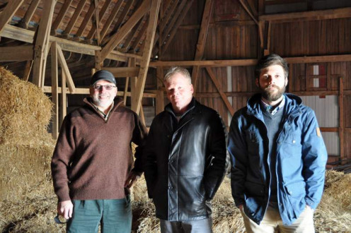 My son, brother and me visiting the old barn, December, 2014.
