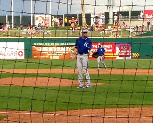 Behind home plate watching this Royal warm up.