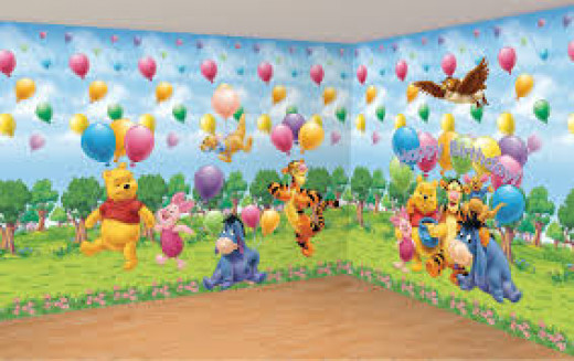 Disney wallpaper or stickers are bright and colourful