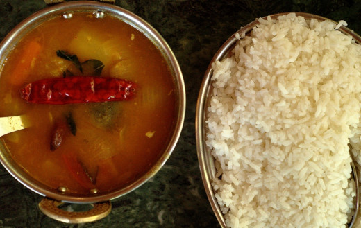 Sambar served with rice