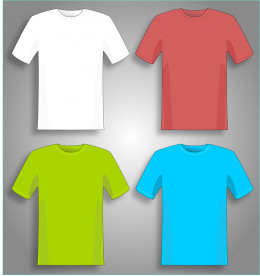 T-shirts in primary colors. Men like these.
