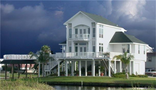 One of many beach homes on stilts
