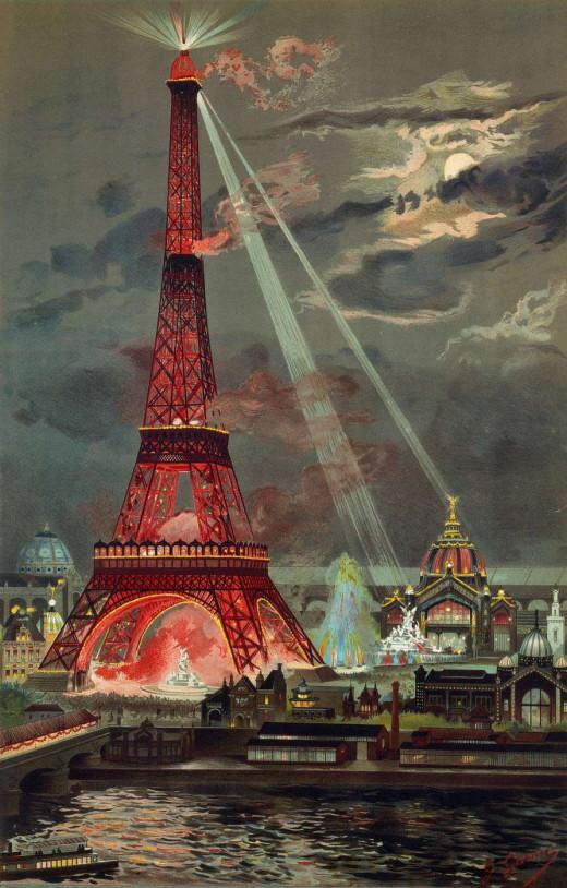 Georges Garen  1889  Embrasement de la Tour Eiffel pendant l'Exposition universelle de 1889
