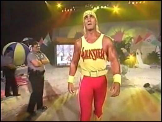Hulk Hogan walks to the ring at Bash at the Beach