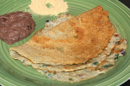 Adai served with onion chutney and and dry chutney powder