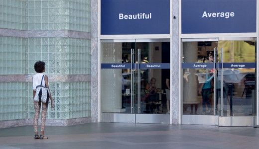 This woman was torn between two choices upon entering the door: beautiful or average. Dove's Choose Beautiful campaign inspired women to be confident that they are beautiful.