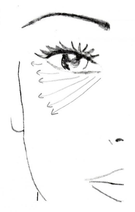 Beneath the entire eye.