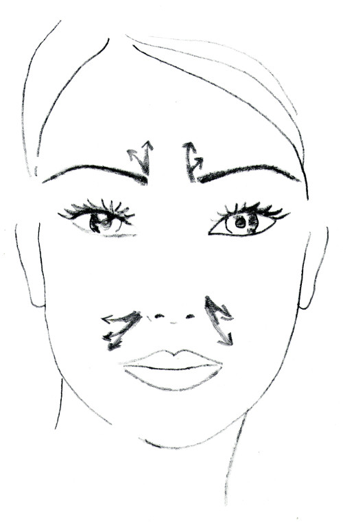 Frown lines and nasolabial folds.