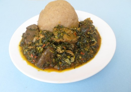 Edikang-Ikong Soup served with Eba