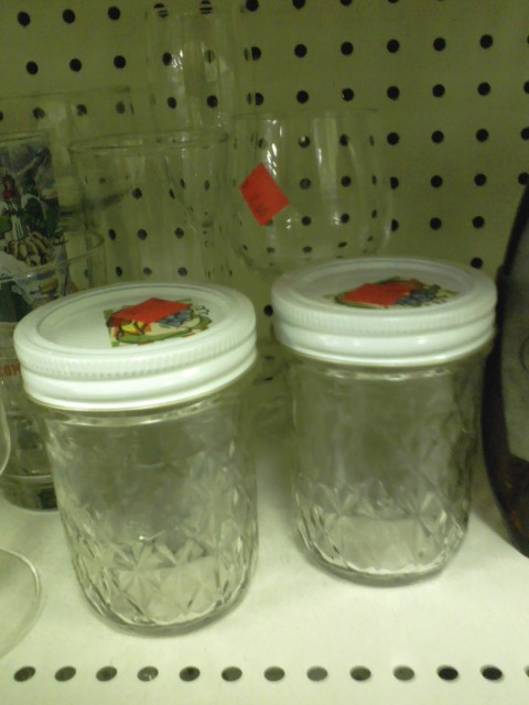 These jam jars are overpriced at a buck each, but they know I am all about the homestead self-reliance thing. But that makes me sensible so no used mini canning jars for $1 each.