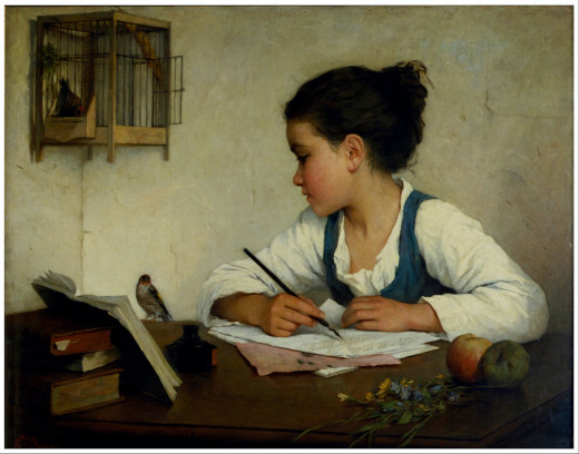 A Girl Writing; The Pet Goldfinch- By Henriette Brown