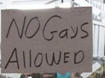 No Gays allowed  sign in window of privately owned hardware store in Tennessee
