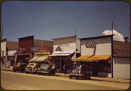 Cascade, Idaho, 1941. Progress is slowly surfacing on main street.