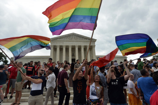 People  celebrating Supreme Court  same-sex marriage ruling.