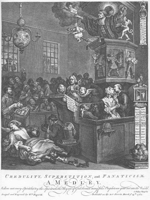 Credulity, Superstition and Fanaticism by William Hogarth featuring 'The Boy of Bilston' at the foot of the pulpit.