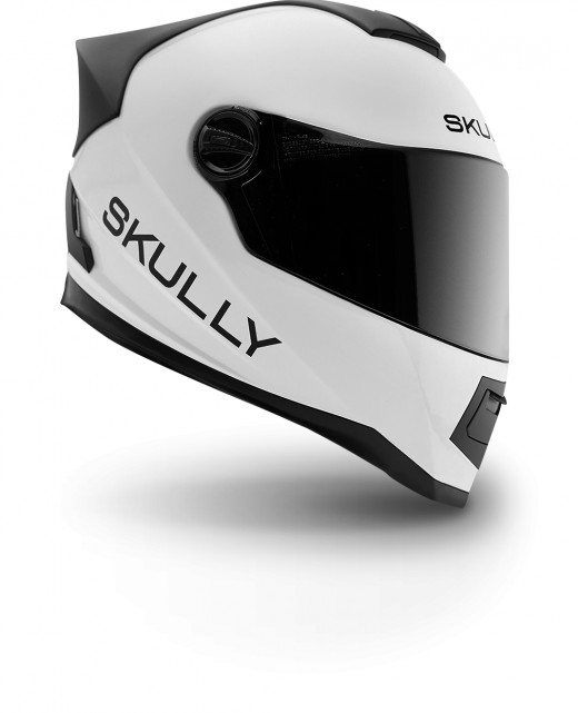 Skully helmet comes in black and white