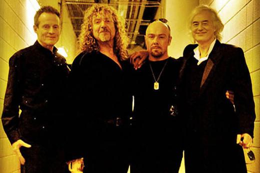 (left to right) Jones, Plant, Bonham and Page backstage.