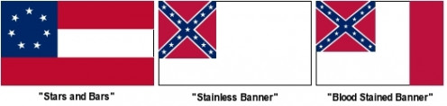 The three flags used by the Confederacy