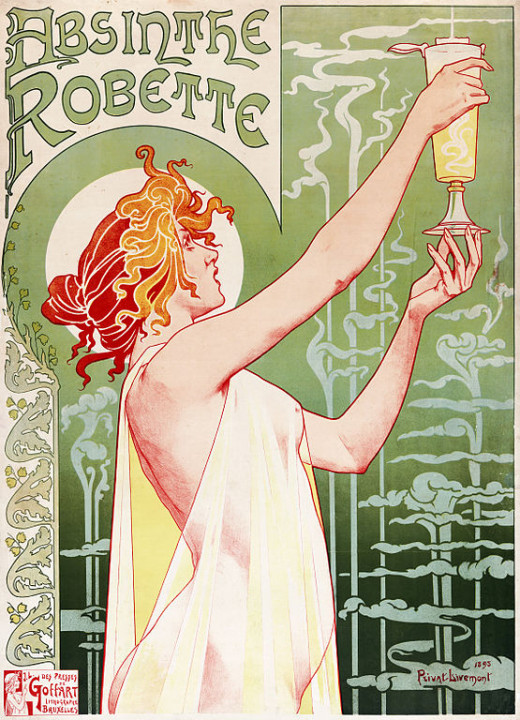 Published in 1896, this advertising poster for Absinthe Robette was drawn by artist Henri Privat-Livemont. Privat-Livemont is known for his classic art deco posters, but also designed the decor of the Theatre Francais and Hotel de Ville, Paris.