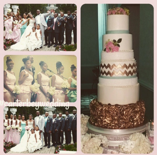 Photos of the bride and groom with their bridal party and the beautiful cake.