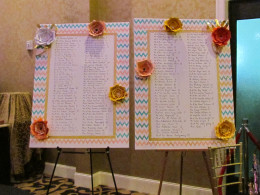 A beautiful display of seating arrangements with table numbers for the guests at the reception created by Aunt Mary Coleman, of the couple.